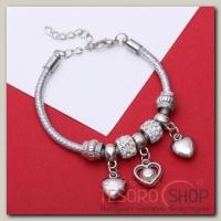 Браслет Марджери на нити, сердце, цвет белый в серебре - бижутерия