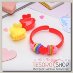 Набор детский Выбражулька 3 предмета: 2 крабика, браслет, сердечко, цвет МИКС - бижутерия