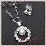 Гарнитур 2 предмета: серьги, кулон Невесомость, круг с бусиной, цвет белый в серебре - бижутерия