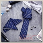 Набор мужской Элит галстук 145x5см, платок, запонки, полоски, цвет сине-серебристый - бижутерия