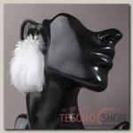 Серьги перья Полема, цвет белый - бижутерия