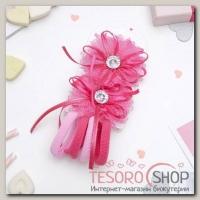 Набор для волос Милашка 2 зажима, 4 резинки розовый цветок - бижутерия