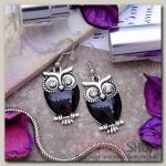 Серьги эмаль Сова винтажные цвет черный в серебре - бижутерия