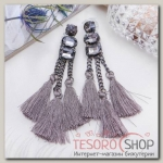 Серьги Кисти изыск, тройные, цвет серый - бижутерия