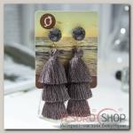 Серьги Кисти ванесса, цвет серый, L кисти 5,5 см - бижутерия