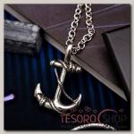 Кулон мужской Стальной якорь, цвет серебро, 50 см - бижутерия