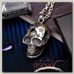 Кулон мужской Стальной череп, цвет серебро, 50 см - бижутерия