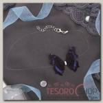 Чокер Butterfly на леске, цвет сине-чёрный в серебре - бижутерия