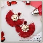 Серьги Кисти арабика, цвет красный в золоте - бижутерия