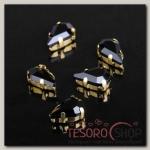 Стразы в цапах (набор 5 шт), 6x10мм, цвет чёрный в золоте