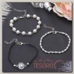 Браслет жемчуг Романтик бусины, набор 3 штуки, цвет бело-чёрный в серебре - бижутерия