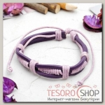 Браслет кожа Переплетение, цвет фиолетовый - бижутерия