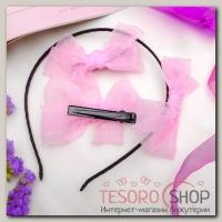 Набор для волос Воздушный (2 зажима,1 ободок) розовый - бижутерия