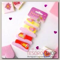 Резинка для волос Весёлый глянец (набор 4 шт) сандалики, жёлтый и оранжевый - бижутерия