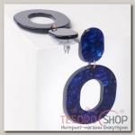 Серьги пластик Млечный путь, цвет синий - бижутерия