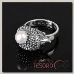Кольцо Ёж, размер 17, цвет белый в чернёном серебре
