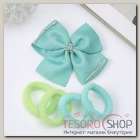 Набор для волос Малютка зеленый (4 резинки, 1 зажим) бант со стразами - бижутерия