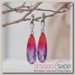 Серьги с кристаллами Иллюзион капля вытянутая, цвет красно-фиолетовый в серебре - бижутерия