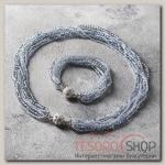 Набор 2 предмета: бусы, браслет Хрусталь с бисером, цвет серый - бижутерия