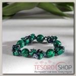 Браслет шар №10 Магнезит+малахит с хрусталем, цвет зелено-серый - бижутерия