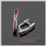 Швензы родированные Домино, цвет розовый в серебре - бижутерия