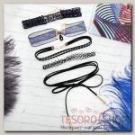Чокер Ассорти плетение, (набор 5 шт), цвет чёрно-синий - бижутерия