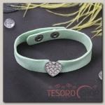 """Браслет кожа """"Замшевый стиль"""" сердце, цвет зелёный в серебре - бижутерия"""