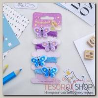 """Резинка для волос """"Кроха"""" набор 4 штуки бабочки синий, фиолетовый - бижутерия"""