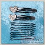 Невидимка для волосАмалия (набор 10 шт, 6,5 см) сердечко - бижутерия