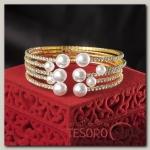 Браслет с жемчугом Иллюминация, цвет белый в золоте - бижутерия