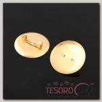 Булавка для броши с круглым основанием СМ-367, (набор 5шт) 30 мм, цвет золото