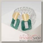 Серьги пластик Комильфо, цвет зелёный в золоте - бижутерия