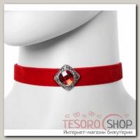 Чокер Александрия бархотка с ромбом, цвет красный - бижутерия