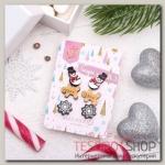 """Пусеты 3 пары """"Новогоднее ассорти"""" снеговик, пряник, снежинка, цветные - бижутерия"""