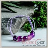 Браслет шар №10 Агат фиолетовый шамбала, 6 бусин - бижутерия