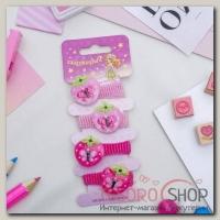 """Резинка для волос """"Кроха"""" набор 4 штуки клубника малиновый, розовый - бижутерия"""