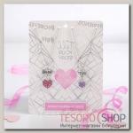 Кулон Неразлучники best friends, цвет розово-фиолетовый в чернёном серебре, 45 см - бижутерия