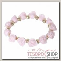 Браслет пластик Цветы розы, цвет розово-золотой - бижутерия