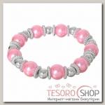 Браслет жемчуг Бусинка, цвет розовый в серебре - бижутерия