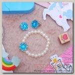Набор детский 2 предмета: браслет, клипсы, цветок перламутровый, цвета МИКС - бижутерия