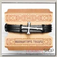 """Браслет церковный """"Крест литой"""" (черный), 2,2 х 17,5 см - бижутерия"""
