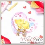 """Набор серьги+открытка, """"Мальчик и девочка"""", цвет белый в золоте - бижутерия"""