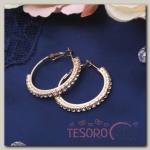 Серьги-кольца Princess дорожка малая, цвет белый в золоте, d=3 см - бижутерия