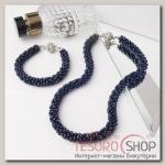 Набор 2 предмета: бусы, браслет Хрусталь, цвет тёмно-синий - бижутерия