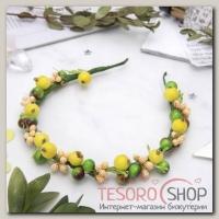 Ободок ручной работы Зелёные гладкие ягоды - бижутерия