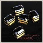 Стразы в цапах (набор 5 шт), 10x14мм, цвет черный в золоте