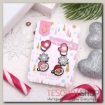 """Пусеты 3 пары """"Новогоднее ассорти"""" снежинка, дед мороз, варежка, цветные - бижутерия"""