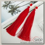 Серьги Кисти монро, цвет красный, L кисти 15 см - бижутерия