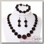 Набор 3 предмета: серьги, бусы, браслет Бархатный стиль шарики, цвет чёрный - бижутерия
