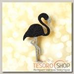 Брошь деревянная Сверкающий фламинго, цвет черный